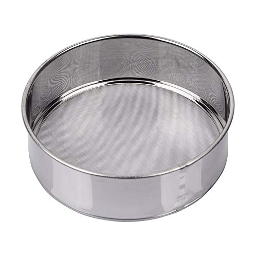 AMPSEVEN Small Tamis 6inch,Mini Fine Mesh Flour Sieve 60 Mesh Stainless Steel Round Sifter for Baking(6 Inch, 60m Mesh)