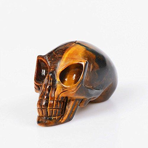 Ruhong Natural Blue Fused Crystal Skull Carved Realistic Handcrafted Crystal Skull Figurine Healing Energy Quartz Crystal Skulls Decoration Gift (Brown)