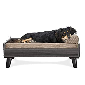 Furhaven Pet Dog Bed Frame – Mid-Century Modern Style Bed Frame Furniture for Pet Beds and Mattresses, Gray Wash, Medium
