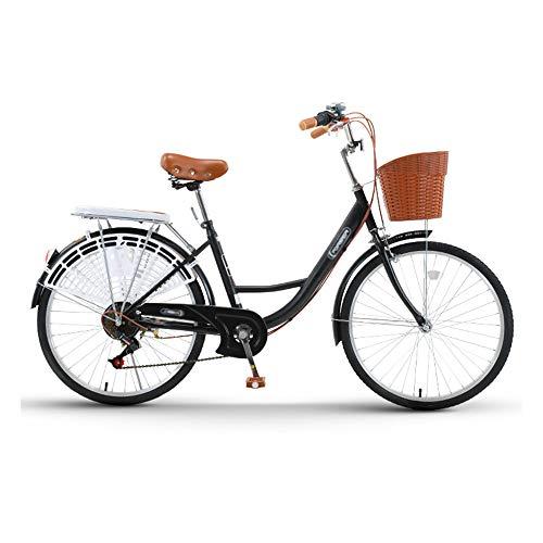Bicicleta, Bicicleta de Viaje Diario de 24/26 Pulgadas, Bicicleta de Ocio de Moda Retro, TransmisióN de 7 Velocidades, Marco de Bajo Alcance, para Trabajadores de Oficina/Estudiantes/B
