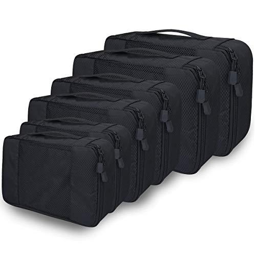 Kleidertaschen Kofferorganizer 6er Set, Netspower Reisen Organizer Tasche Packtaschen Reisegepäck Reisetaschen für Koffer Urlaub Rucksack Kleidung Schuhbeutel Unterwäsche Kosmetik BHS - Schwarz