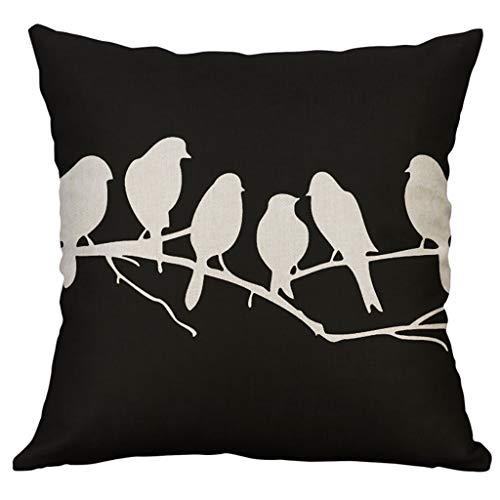 Xmiral Kissenhüllen Kissenbezüge Quadratischer Vogel Schwarz und weiß Drucken Leinenmischung Zierkissenbezüge 40×40 cm(F)