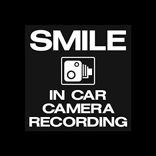 5X glimlach in auto camera opname grappige waarschuwing Stickers voor eigendom auto raam veiligheid teken Sticker Labels Vinyl Decal 100X100Mm - Dash Cam, CCTV, Surveillance