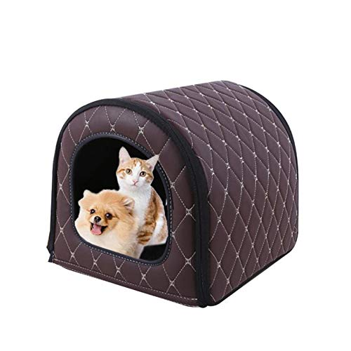 Misis Portable Pet House Soft Dog Bed Cat House Waterproof and Sunscreen Washable with Removable Cushion