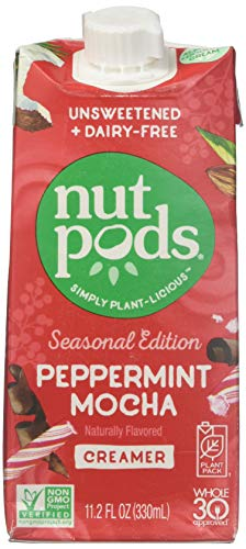 nutpods Peppermint Mocha, Unsweetened Dairy-Free Liquid Coffee Creamer Made From Almonds and Coconuts (3-pack)