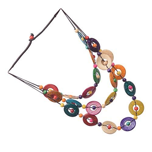 chiwanji Collar de Múltiples Capas de Cascaras de Coco para Mujer Muchacha Niña - Colorido círculo 75cm