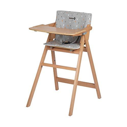Safety 1st Nordik Trona madera plegable ultra compacto, Asiento para bebés grande y seguro, Bandeja fácil de levantar, Trona de Madera altura resistente y duradera, color Gris claro