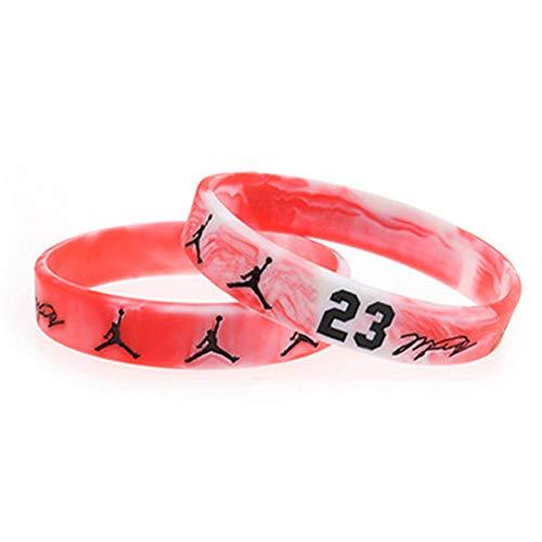 Zdy Joyería 5Pcs Pulsera Silicona Trapecio Jordan 23 Firma Versión Baloncesto NBA Fan Pulsera Silicona Pulsera Luminosa Deportes Fe,B