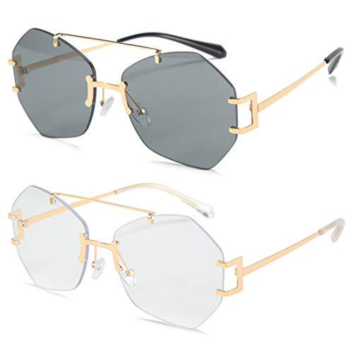 HFSKJ Paquete de 2 Gafas de Sol, Gafas de Sol sin Montura Irregulares, Gafas de Todo fósforo para Mujer, Gafas de Sol de Moda callejera para Adultos,B