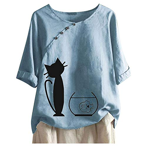 Casual Women's Crewneck Short Sleeve Tops Classic Cotton Linen T-Shirt for Women Fashion Cat and Fish Print Blause Tee Oversized Tshirt Tops for Teen Girls Women Summer Gifts Blue