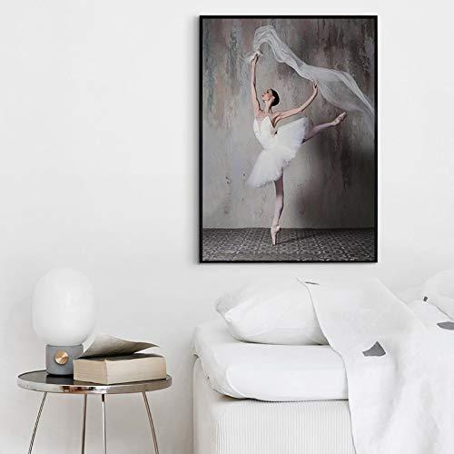 Pintura sin Marco Retro nostálgica Bailarina Belleza Imagen Simple decoración nórdica Moderna para el hogarZGQ3288 50X75cm