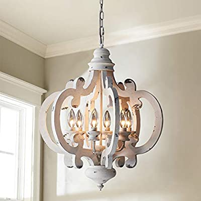 """Saint Mossi Wood Chandelier in Farm House Antique White Wash Finish,6 Lights,Transitional Rustic Chandelier Lighting with Vintage Solid Wood Frame, H23"""" x D20"""" with Adjustable Chain"""