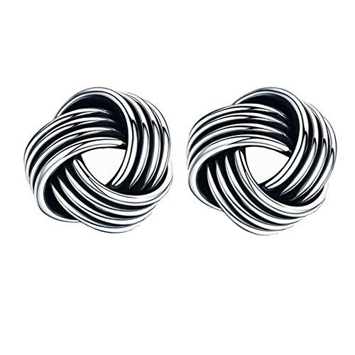 Dtja Sterling Silver Celtic Love Knot Earrings for Women Teen Girls Tiny Knot Twist Stud Tragus Post Pin Earrings Hypoallergenic for Sensitive Ear Minimalist Vintage Jewelry 7mm