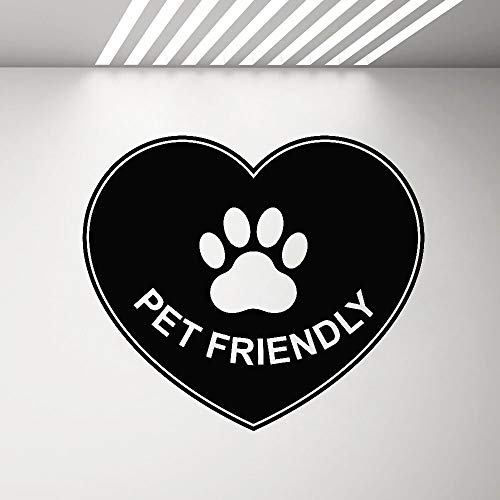 Vinyl Wall Decal pet Friendly Sign Sticker Animal Love paw Print Window Wall Sticker Cafe Lounge Shop Creative Decoration Poster A1 40x35cm