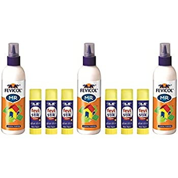 Pidilite Fevicol Mega Glue Pack With 3 Fevicol Mr 200 G Each 6 Fevistik Super Glue Stick 8 G Each For Office Or Craft Projects Amazon In Office Products