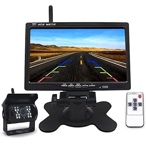 Telecamera per Retromarcia Auto Senza Fili Kit, 7 Pollici TFT LCD Specchio Monitor 18 LED Impermeabile IP67 con Visione Notturna Eccellente