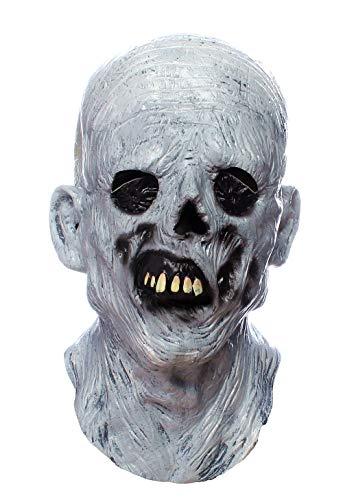 RAPGET Máscara de terror Máscara de zombi Máscara espeluznante Máscara de hombre viejo Máscara de Halloween Novedad Disfraz Fiesta de látex Máscara de cabeza completa Zombie Cosplay Props (blanco)