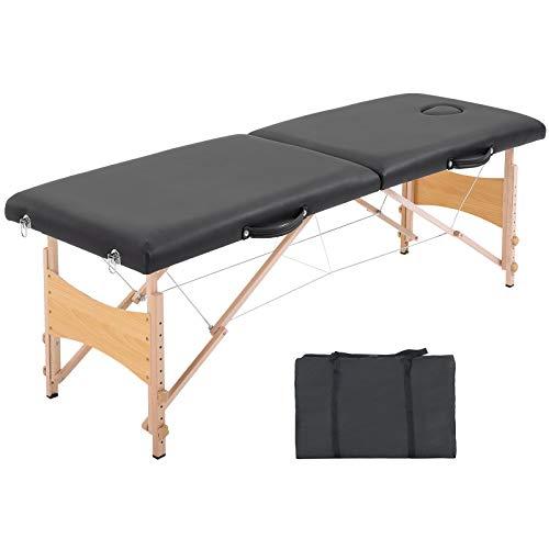 Table de massage pliante lit table de beauté 2 zones portable sac de tranport inclus hauteur réglable dim. 186L x 60l x 58-81H cm bois massif revêtement synthétique noir