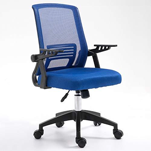 Bureaustoel directiestoel in hoogte verstelbaar voor computer thuis van ademend mesh ademend comfortabele bank met wieltjes van anti-slip PU zwart blauw Blauw