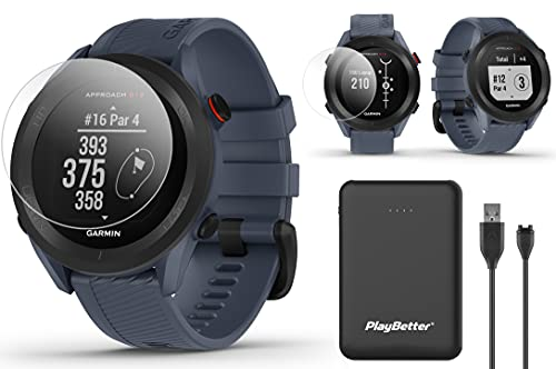 Garmin Approach S12 GPS Golf Watch Bundle   Includes PlayBetter Portable Charger & HD Screen Protectors   Sunlight-Readable, 42,000+ Courses   Golf Watch for Men 2021   Granite Blue, 010-02472-01