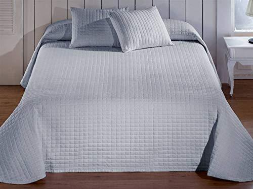 Barceló - Tagesdecke Jacquard Calgary - Bett 90 cm - Farbe Weiß Cama 150 cm Perlgrau