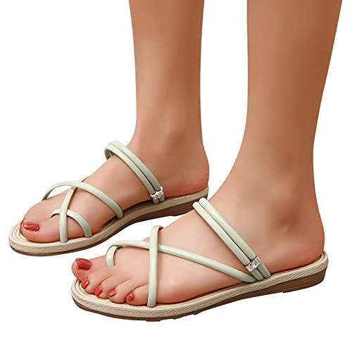KLHDM Sandales Femme Plage Sandalettes Eté Summer Chaussures Cross Sangle Shoes Flat Cheville Deux Usures Tongs Souliers Croix de Dame avec Orteil Plat Sandales Compensées,001,36EU