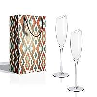 flute champagne (180 ml,set di 2) bicchiere di cristallo calici da champagne, 18 cl scatola regalo gambo lungo, regalo perfetto per matrimonio, anniversario, natale e ogni occasione