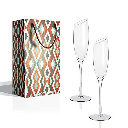Gracefulhat Sektgläser 180 ml - 2er Set Champagnergläser, Bleifreies Kristallglas Abschrägung Mund Champagnerkelche, das perfekte Schenk zum Hochzeit,Jubiläum,Weihnachten und Jeder Anlass