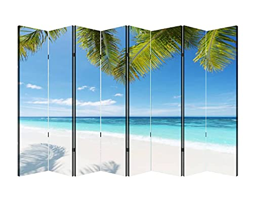 8 Panels Wall Divider Summer Tropical Beach Background Folding Canvas Privacy Partition Screen Room Divider Sound Proof Separator Freestanding Protective Divider