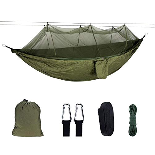 ZYF Outdoor Double Portable Nylon Parachute Cloth Air Camping Tent Hanging Sleeping Swing,Army Green