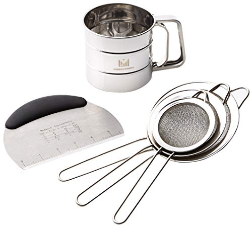 Sifter Sieve Set with Dough Scraper for flour or sugar. 5 Piece Baking supplies