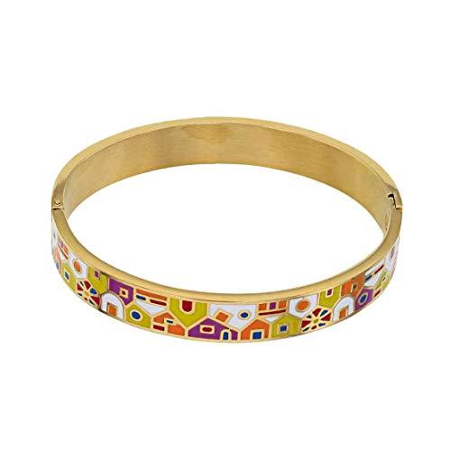 Pulsera para mujer de acero rodiado en oro amarillo para mujer, con tapa esmaltada, estilo Murano, ideal como regalo, cumpleaños, boda, compromiso, regalo para mujer