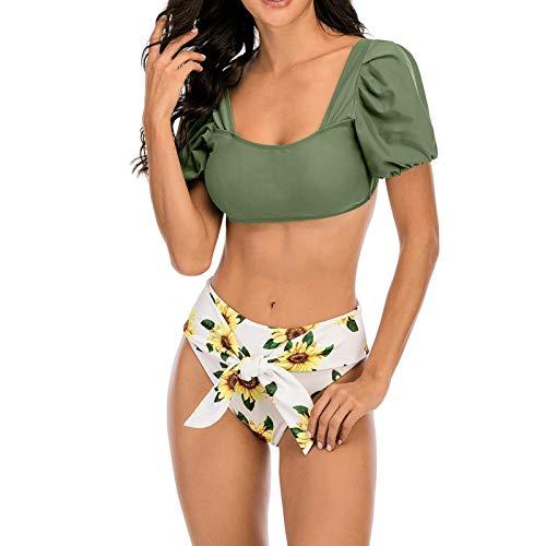 Bikini de cintura alta para mujer, acanalado, New Puff Sleeve Bikini de cintura alta, cuello cuadrado, Cheeky Bikini de 2 piezas de baño sexy con correa ancha