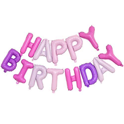 Ponmoo Foil Palloncini Happy Birthday Banner Kit - Amaretto, Bandiera di Buon Compleanno Palloncini Festa Decorazioni, Festa di Compleanno Scritta Palloncino Happy Birthday per Adulti Bambini