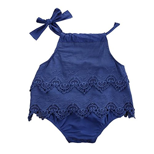 Kidsa Baby Girl Summer One-piece Royal Blue Tank Top Lace Tutu Romper Bodysuit