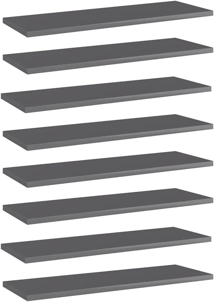 Furniking Bookshelf Boards 8 pcs Gray Now free shipping 23.6