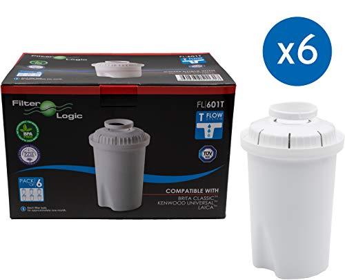 FilterLogic FL601T | 6-pack waterfilterpatronen compatibel met Brita Classic waterfilterkannen/tafelwaterfilter waterfilter filterpatronen