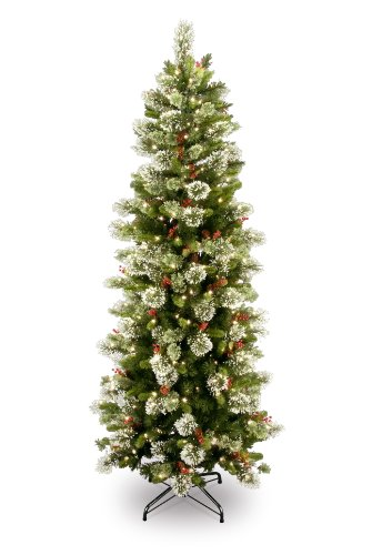 National Tree Company Pre-lit Artificial Christmas Tree | Includes Pre-strung White Lights and Stand | Flocked with Cones, Red Berries and Snowflakes | Wintry Pine Slim - 7.5 ft