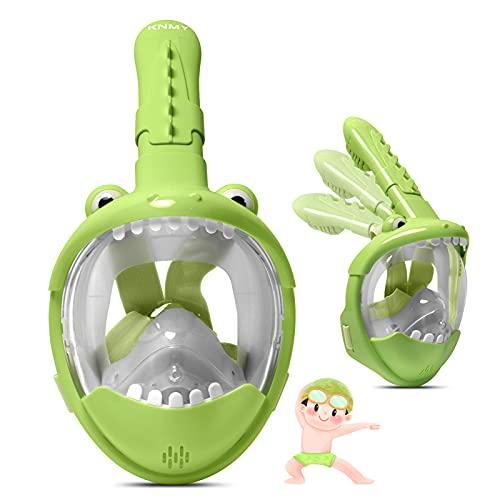 KNMY Tauchmaske für Kinder, Schnorchelmaske Vollmaske, 180° Sichtfeld, Antibeschlag und Auslaufsicher, Vollgesichtsmaske Tauchermaske Krokodildesign (Grün)