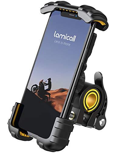 Soporte Movil Bicicleta, Lamicall Soporte Motocicleta - Rotación 360° Soporte Manillar para iPhone 12 Mini, 12 Pro Max, 11...