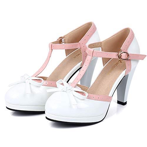 Robasiom Fashion T Strap Bows Womens Platform High Heel Pumps Shoes 9B(M)US White