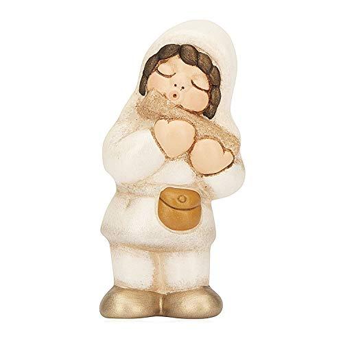 THUN - Statuina Presepe Suonatore di Flauto - Decorazioni Natale Casa - Linea Presepe della Famiglia - Ceramica - 5,5 x 7,6 x 4,6 cm