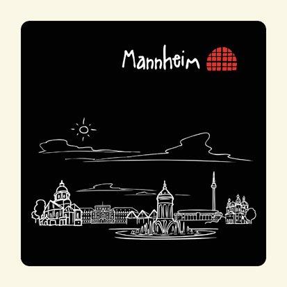 die stadtmeister Untersetzer Skyline Mannheim (schwarz) - als Geschenk für echte Monnemer & Mannheim-Fans oder als Mannheim Souvenir