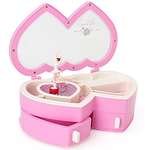 KDBWYC Caja de Almacenamiento de joyero Musical de Bailarina para niñas pequeñas Caja Musical Linda para Regalos de niños Rosa