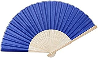 Naisidier - Ventilador Plegable para Mujer, 21 cm, para Manualidades, abanicos Azules con Borla, abanicos de bambú Huecos, para Boda, Fiesta, Regalo