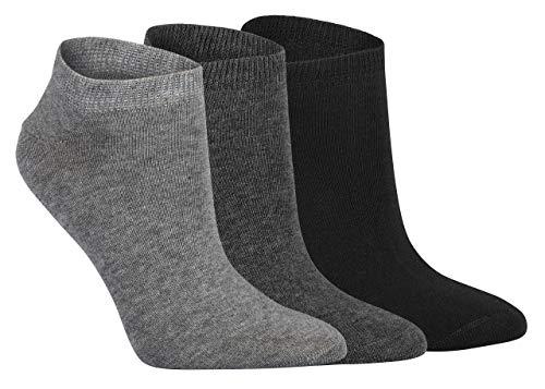 Lieblingsstrumpf24 6 Paar Füsslinge Sneaker Socken Bio 98% Baumwolle Organic Cotton ohne Naht (39-42, Grau-töne)