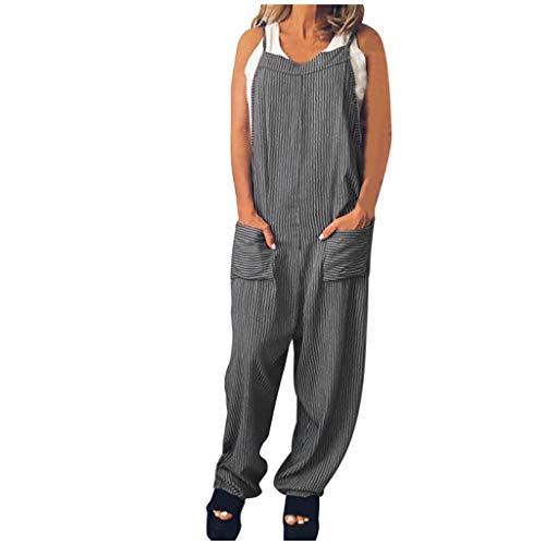 Luotuo Damen Latzhose Mode Retro Lässig Leinen Baggy Sommerhose Taschen Lange Harem Playsuit Hose Jumpsuits Trousers Overalls Weite Beine Lange Hosen
