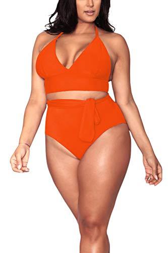 Pink Queen Women's Plus Size Swimwear Padded Push Up 2 Piece Bikini Set Swimsuits Orange 2XL