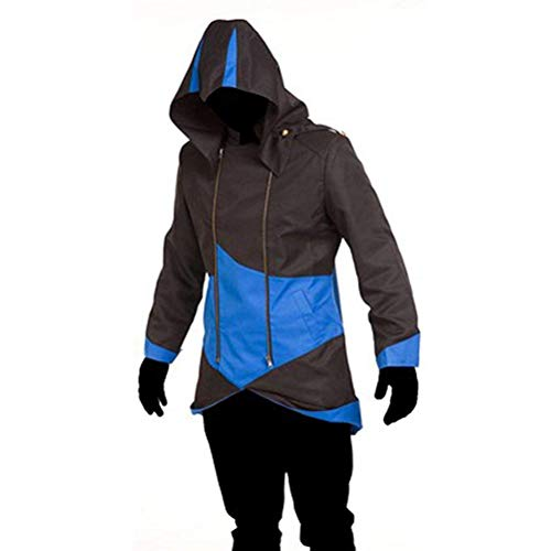 Cos2be Hoodie Jacket Coat (Black&Blue,Men-XS)