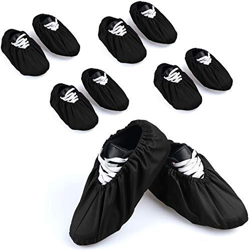 BlesMaller 5 Paare Schuhüberzieher Baumwolle Anti-Rutsch Schuhe Überschuhe Bedeckung Atmungsaktiv Stiefel Überzüge Überziehschuhe Wiederverwendbar&Waschbare - Schwarz